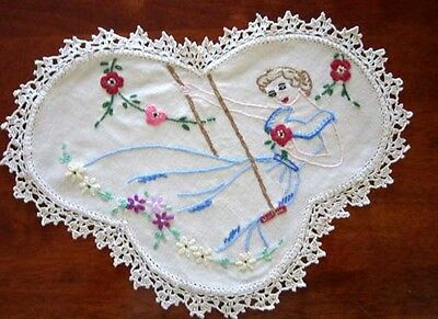 Vintage Hand Embroidered Doily Pair Beautiful Girl On a Swing