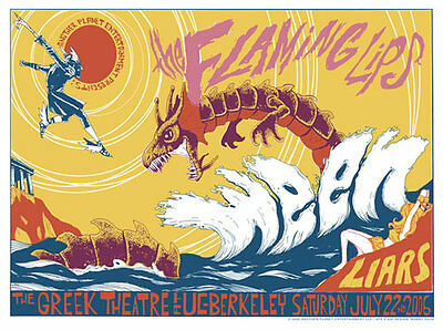 Flaming Lips Ween Liars Greek Theatre UC Berkeley 2006 Poster Manny Silva RARE