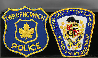 Obsolete Canada Ontario St. Mary's Township && Norwich Police Shoulder Patches