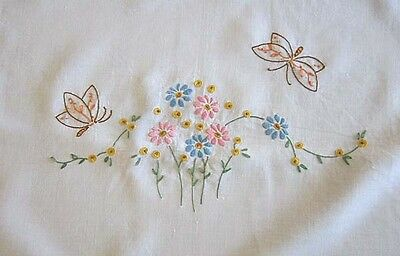 Vintage Hand Embroidered Doily Tray Cloth Butterfly and Flowers