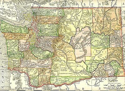 Original 1895 Antique Map WASHINGTON STATE Vancouver Seattle Tacoma Bellevue WA