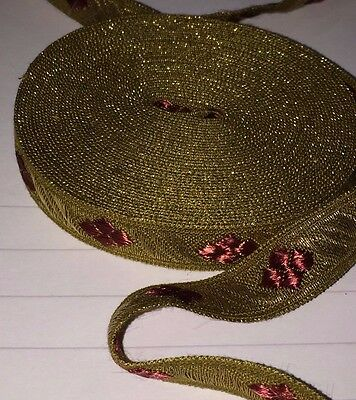 6m x VINTAGE / ANTIQUE GOLD & RED BRAID RIBBON 1960'S PRISTINE CONDITION