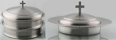 Holy 2 Communion Tray with Lid and One Bread Plate with Lid- Matte Finish