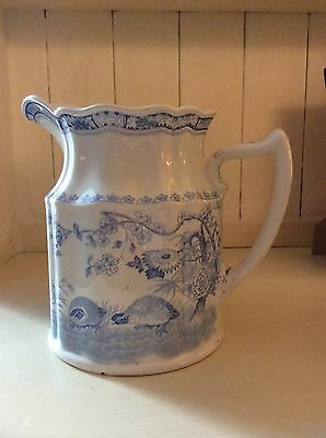 Very Rare Furnivals Blue Quail Milk Jug/Pitcher. Good Used Vintage Condition