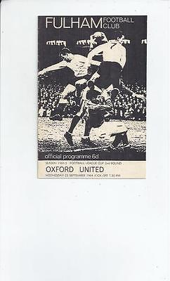 Fulham v Oxford United League Cup Football Programme 1964/65