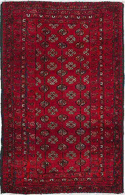 """Hand-knotted Carpet 3'11"""" x 6'3"""" Finest Baluch Wool Rug...DISCOUNTED PRICE!"""