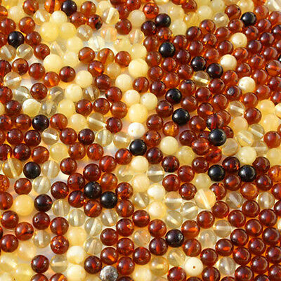 Polished Round Baltic Amber Beads with holes. (6mm), 3 grams- 20 beads