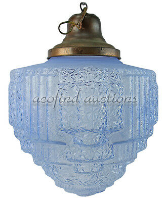 Vintage Art Deco Ice Blue Hanging Chandelier Ceiling Fixture Glass Globe Shade