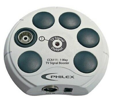 Philex 1 Way TV Aerial Signal Booster Amplifier Freeview HD 18dB Gain