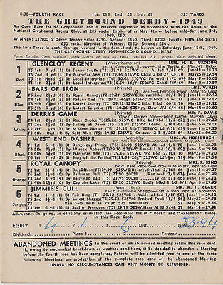 1949 Greyhound Derby Programme 2Nd Round