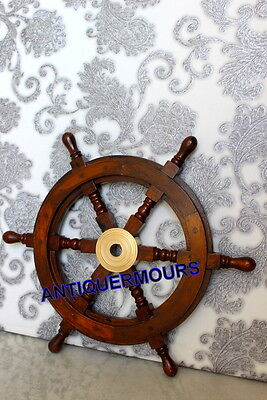 "Authentic_Boat Ships Captain_ Nautical ~Wheel 24"" Wooden Steering Wheel"