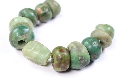 77) 11 Well Polished Ancient Pre Columbian Olmec Jade Greenstone Beads Artifact