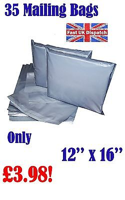 35 Mailing Bags 12 x 16 Strong Grey Plastic Poly Postal Postage Auct 4-12