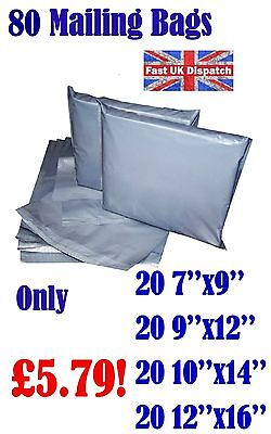80 Mixed Mailing Bags Strong Grey Plastic Poly Postal Postage 4 Sizes Auct 14-10