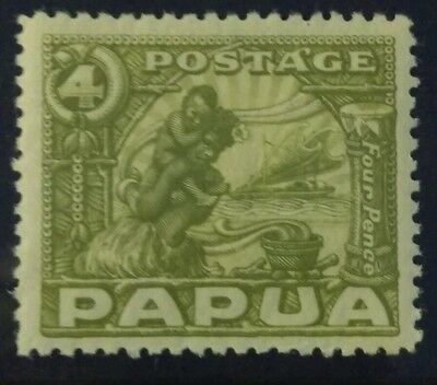 Papua 1932 Pictorial 4d Olive Mint  Hinged c39