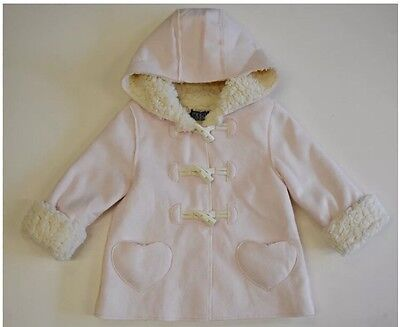 Girls Pink Faux Sheepskin Style Toggle Jacket Coat With Hood 2-3 Years