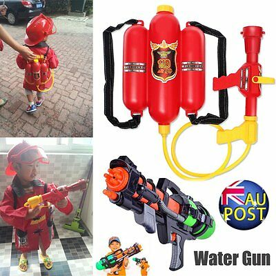 Fireman Backpack Water Gun Extinguisher Water Soaker & Fire Hat Beach Kids Toy X