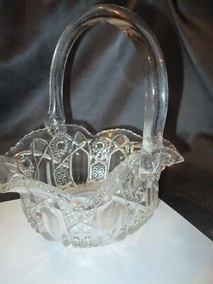 Clear Eapg Quintec Heritage Glass Le Smith Whimsy Basket Vase