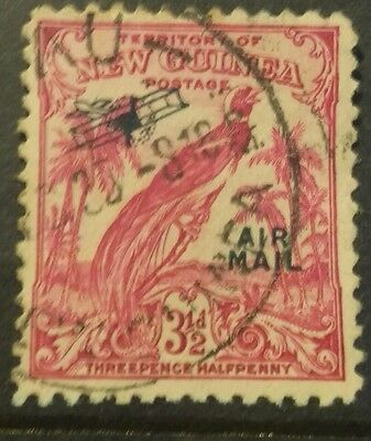 1932  New Guinea Bird of Paradise 3 1/2d red  Airmail used c39