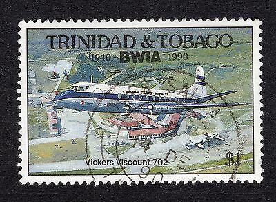 1990 Trinidad & Tobago $1 Vickers Vicount 702 SG 784 FINE Used R18187