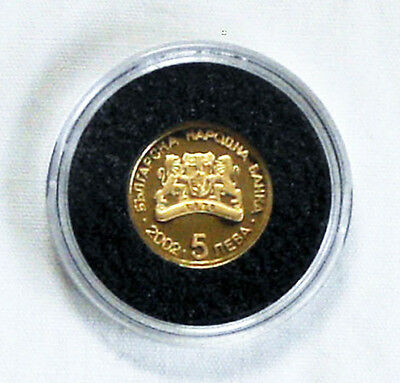 2004 BULGARIA 'PIERRE COUBERTIN' OLYMPIC GAMES 1/25th oz. 24CT GOLD PROOF 5 LEV