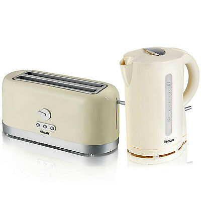 Swan Cream Cordless Electric 1.7L Jug Kettle And 4 Slice Long Slot Toaster Set