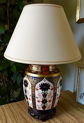Royal Crown Derby 1st Quality Old Imari 1128 SGB Table Lamp With Shade