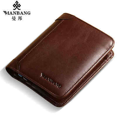 Luxury Mens Wallet Genuine Leather Boutique Trifold  Purse Fashion Black/Brown
