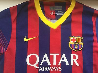 "FC Barcelona adult football shirt. ""Messi 10"". Size youth/small adult."