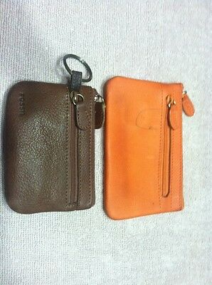 Fossil And Rolf's Coin/Change Purses Two Pieces, Leather, Brown And Orange