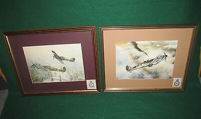 Two WWII British Fighter Aircraft Framed Prints One Titled Victory Over Dunkirk