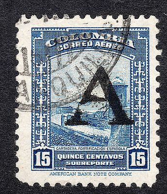 1941 Colombia 15c Blue AIR OPTD A SG 693 FINE USED R18524