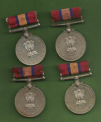 India Independence Medal 26 Janvery 1950 Police Medal Unnamed With Riban 4 Pce