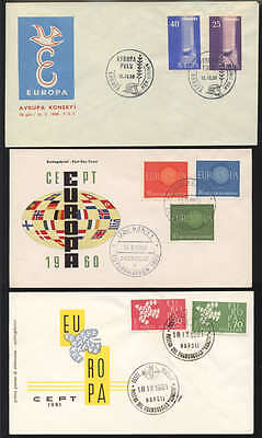 Europa Fdc - 11 Different - Cacheted, Unaddressed