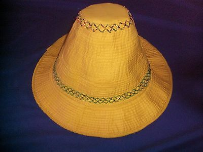 Unique Womens Ladies Cambodian Hat - Yellow Flat Top Local Farmer Design