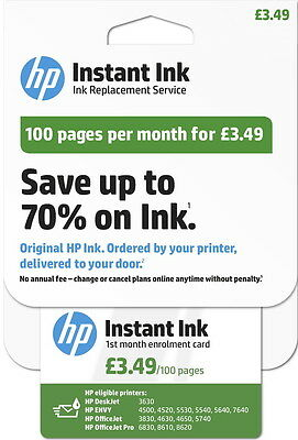 Brand New Genuine HP Instant Ink Kit Enrolment Card 100 pages R.R.P £3.49