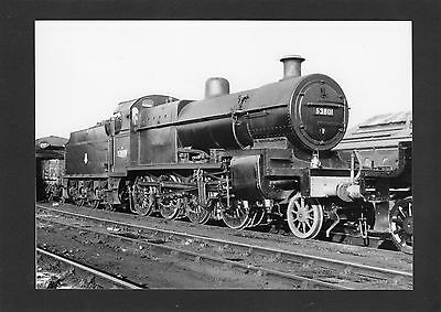 LMS 7x5 print loco No.53801 ex S&D at DERBY in 1958-Proper R/P- glossy photo