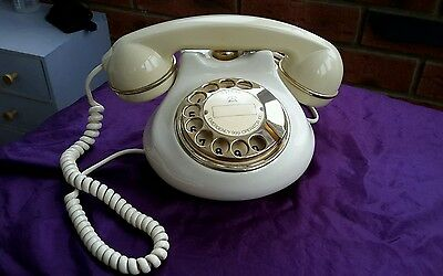 Retro Astral Pottery Rotary Dial Telephone Cream with Gold Plate