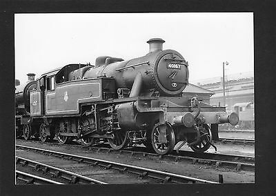 LMS 7x5 print loco No.40167 at DERBY in 1958-Proper R/P- glossy photo