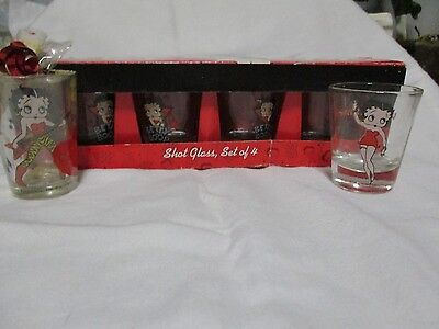 Vintage Betty Boop Set Of 4 Plus 2 Openstock = 6 Shot Glasses