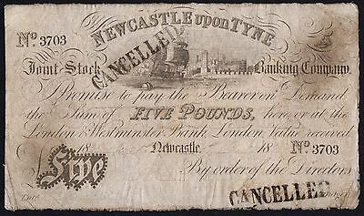 1838 NEWCASTLE UPON TYNE £5 BANKNOTE * 3708 * VG * Outing 1515b *