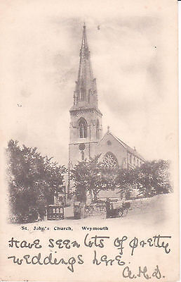St Johns Church, Weymouth. Vintage Postcard Posted In 1903.