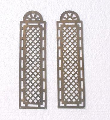 Pair Vintage French Pierced Brass Door Finger Plates #MM3