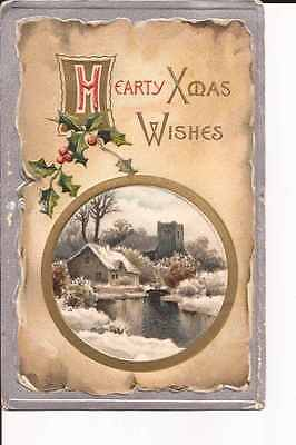 """1909 greetings postcard """"""""Hearty Xmas Wishes"""""""