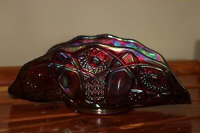 """Vintage Red L.E.Smith 10½ Inch Banana Bowl """"Heritage"""" Unmarked"""