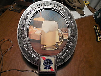 Vintage Pabst Blue Ribbon Beer On Draught Oval Plastic Wall Sign-Lighted