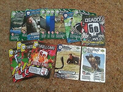 Lot- 16 Deadly 60 Wild Official Trading Cards 2 Rare 10 Common 4 Skull Cards New