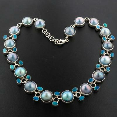 GORGEOUS BLUE MABE PEARL AUSTRALIAN OPAL STRAND 925 STERLING SILVER necklace