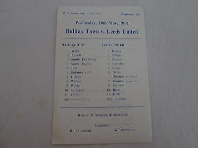 1966-67 WEST RIDING SENIOR CUP SEMI-FINAL HALIFAX TOWN v LEEDS UNITED