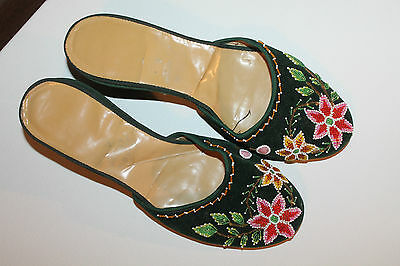 Vintage Shoes Size 4 King Shing Factory Beaded Green Woman's